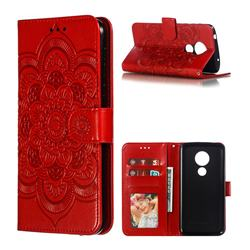 Intricate Embossing Datura Solar Leather Wallet Case for Motorola Moto G7 Power - Red