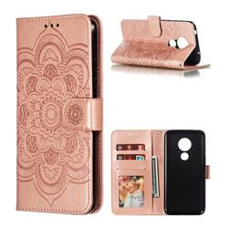 Intricate Embossing Datura Solar Leather Wallet Case for Motorola Moto G7 Power - Rose Gold