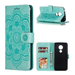 Intricate Embossing Datura Solar Leather Wallet Case for Motorola Moto G7 Power - Green
