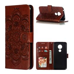 Intricate Embossing Datura Solar Leather Wallet Case for Motorola Moto G7 Power - Brown