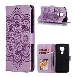 Intricate Embossing Datura Solar Leather Wallet Case for Motorola Moto G7 Power - Purple