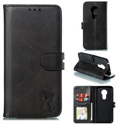 Embossing Happy Cat Leather Wallet Case for Motorola Moto G7 Power - Black