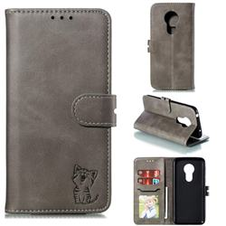 Embossing Happy Cat Leather Wallet Case for Motorola Moto G7 Power - Gray