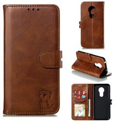 Embossing Happy Cat Leather Wallet Case for Motorola Moto G7 Power - Brown