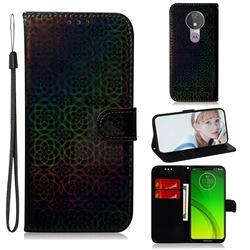 Laser Circle Shining Leather Wallet Phone Case for Motorola Moto G7 Power - Black