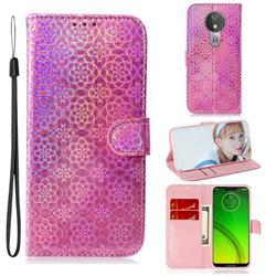 Laser Circle Shining Leather Wallet Phone Case for Motorola Moto G7 Power - Pink