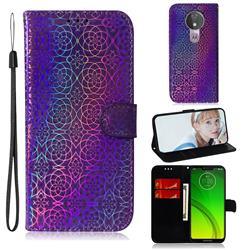 Laser Circle Shining Leather Wallet Phone Case for Motorola Moto G7 Power - Purple