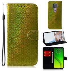 Laser Circle Shining Leather Wallet Phone Case for Motorola Moto G7 Power - Golden