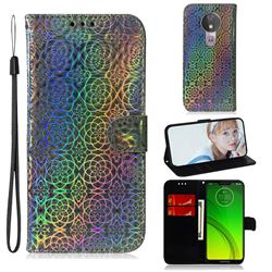 Laser Circle Shining Leather Wallet Phone Case for Motorola Moto G7 Power - Silver