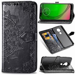 Embossing Imprint Mandala Flower Leather Wallet Case for Motorola Moto G7 Power - Black