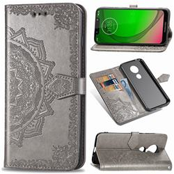 Embossing Imprint Mandala Flower Leather Wallet Case for Motorola Moto G7 Power - Gray