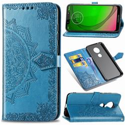 Embossing Imprint Mandala Flower Leather Wallet Case for Motorola Moto G7 Power - Blue