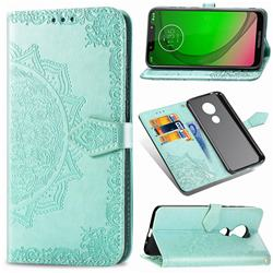 Embossing Imprint Mandala Flower Leather Wallet Case for Motorola Moto G7 Power - Green