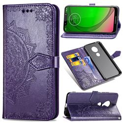 Embossing Imprint Mandala Flower Leather Wallet Case for Motorola Moto G7 Power - Purple