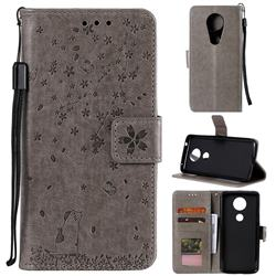 Embossing Cherry Blossom Cat Leather Wallet Case for Motorola Moto G7 Power - Gray