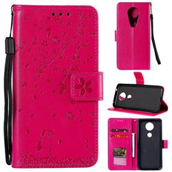 Embossing Cherry Blossom Cat Leather Wallet Case for Motorola Moto G7 Power - Rose