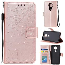 Embossing Cherry Blossom Cat Leather Wallet Case for Motorola Moto G7 Power - Rose Gold