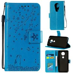 Embossing Cherry Blossom Cat Leather Wallet Case for Motorola Moto G7 Power - Blue