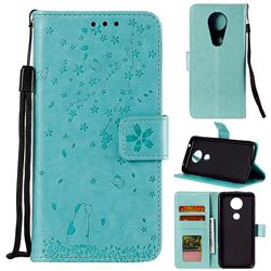 Embossing Cherry Blossom Cat Leather Wallet Case for Motorola Moto G7 Power - Green