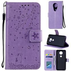 Embossing Cherry Blossom Cat Leather Wallet Case for Motorola Moto G7 Power - Purple