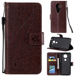 Embossing Cherry Blossom Cat Leather Wallet Case for Motorola Moto G7 Power - Brown