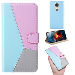 Tricolour Stitching Wallet Flip Cover for Motorola Moto G7 Power - Blue