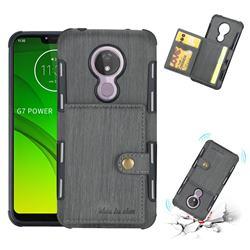 Brush Multi-function Leather Phone Case for Motorola Moto G7 Power - Gray