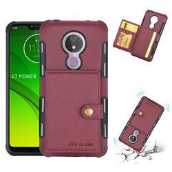 Brush Multi-function Leather Phone Case for Motorola Moto G7 Power - Wine Red