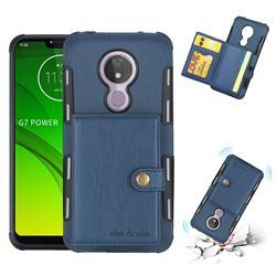 Brush Multi-function Leather Phone Case for Motorola Moto G7 Power - Blue