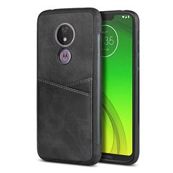 Simple Calf Card Slots Mobile Phone Back Cover for Motorola Moto G7 Power - Black