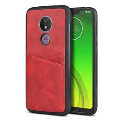 Simple Calf Card Slots Mobile Phone Back Cover for Motorola Moto G7 Power - Red