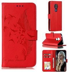 Intricate Embossing Lychee Feather Bird Leather Wallet Case for Motorola Moto G7 Power - Red