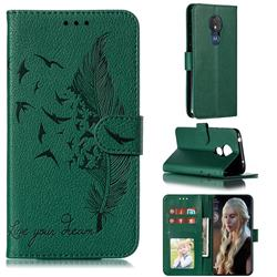 Intricate Embossing Lychee Feather Bird Leather Wallet Case for Motorola Moto G7 Power - Green