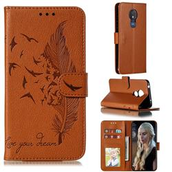 Intricate Embossing Lychee Feather Bird Leather Wallet Case for Motorola Moto G7 Power - Brown