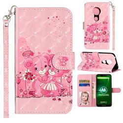Pink Bear 3D Leather Phone Holster Wallet Case for Motorola Moto G7 Power