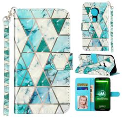 Stitching Marble 3D Leather Phone Holster Wallet Case for Motorola Moto G7 Power