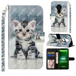 Kitten Cat 3D Leather Phone Holster Wallet Case for Motorola Moto G7 Power