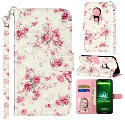 Rambler Rose Flower 3D Leather Phone Holster Wallet Case for Motorola Moto G7 Power