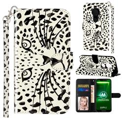 Leopard Panther 3D Leather Phone Holster Wallet Case for Motorola Moto G7 Power