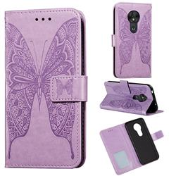 Intricate Embossing Vivid Butterfly Leather Wallet Case for Motorola Moto G7 Power - Purple