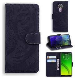 Intricate Embossing Tiger Face Leather Wallet Case for Motorola Moto G7 Power - Black