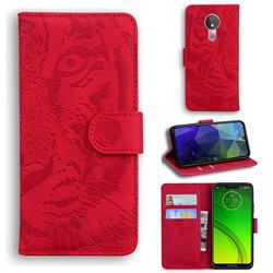 Intricate Embossing Tiger Face Leather Wallet Case for Motorola Moto G7 Power - Red