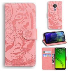 Intricate Embossing Tiger Face Leather Wallet Case for Motorola Moto G7 Power - Pink