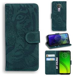 Intricate Embossing Tiger Face Leather Wallet Case for Motorola Moto G7 Power - Green