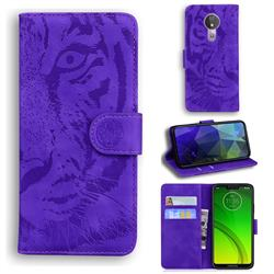 Intricate Embossing Tiger Face Leather Wallet Case for Motorola Moto G7 Power - Purple
