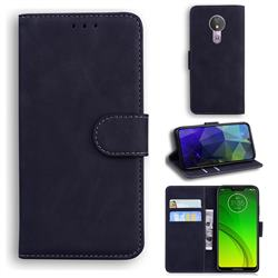 Retro Classic Skin Feel Leather Wallet Phone Case for Motorola Moto G7 Power - Black