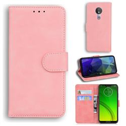 Retro Classic Skin Feel Leather Wallet Phone Case for Motorola Moto G7 Power - Pink
