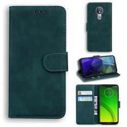 Retro Classic Skin Feel Leather Wallet Phone Case for Motorola Moto G7 Power - Green