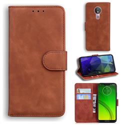 Retro Classic Skin Feel Leather Wallet Phone Case for Motorola Moto G7 Power - Brown