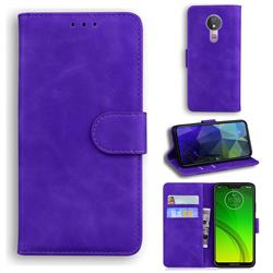 Retro Classic Skin Feel Leather Wallet Phone Case for Motorola Moto G7 Power - Purple